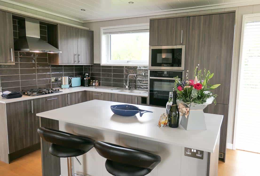 luxury lodge kitchen at Strawberryfield Park