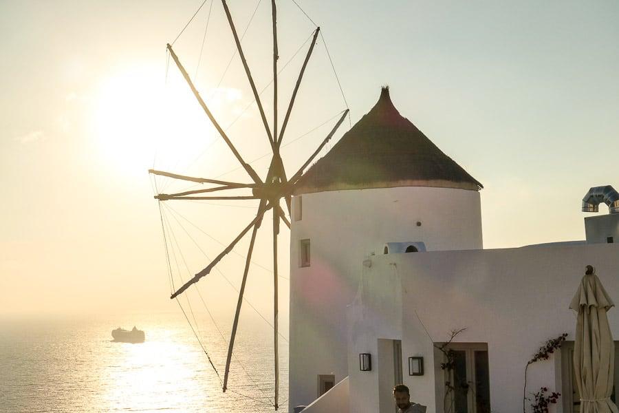 Santorini Windmill Oia at sunset