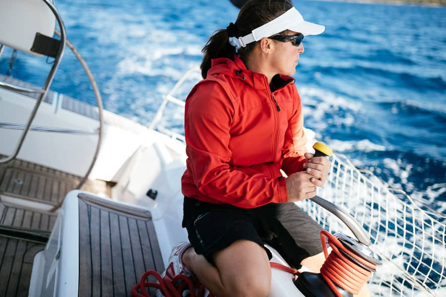Sailing outfit - woman in jacket and visor