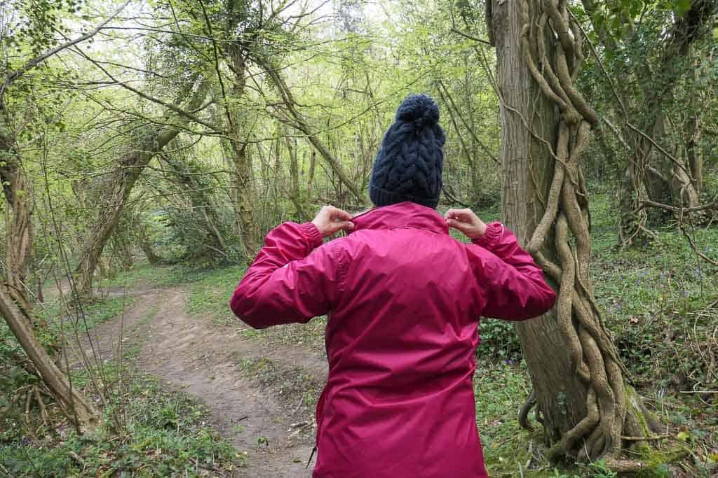 waterproof jacket with stowable hood