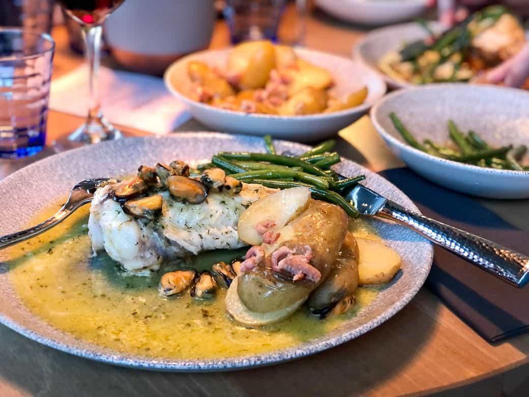 Monkfish with mussels and potted shrimp potatoes