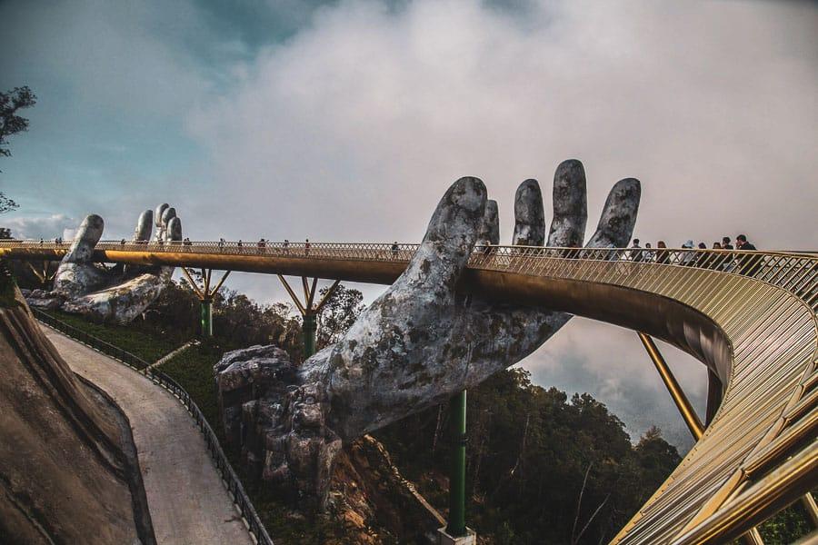 Golden bridge in Bana Hills French village, Sun World, Da Nang, Vietnam