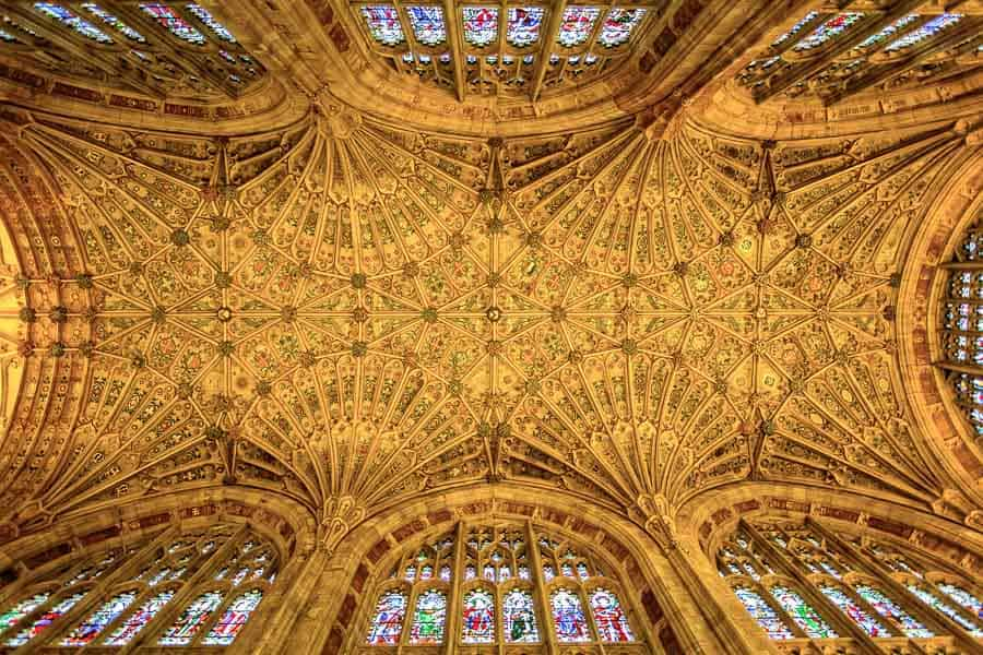 The vaulted ceiling of Sherborne Abbey in Dorset